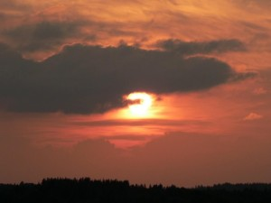 rouge, coucher de soleil, ciel
