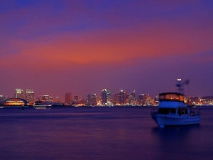 skyline, sunset, harbor, island