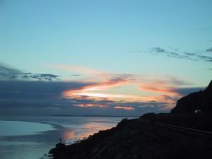coucher du soleil, de l'Alaska, de l'océan
