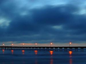 coucher du soleil, pacifique, plage