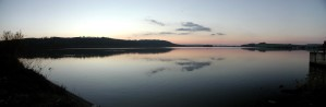 sunset, dawn, lake, nature