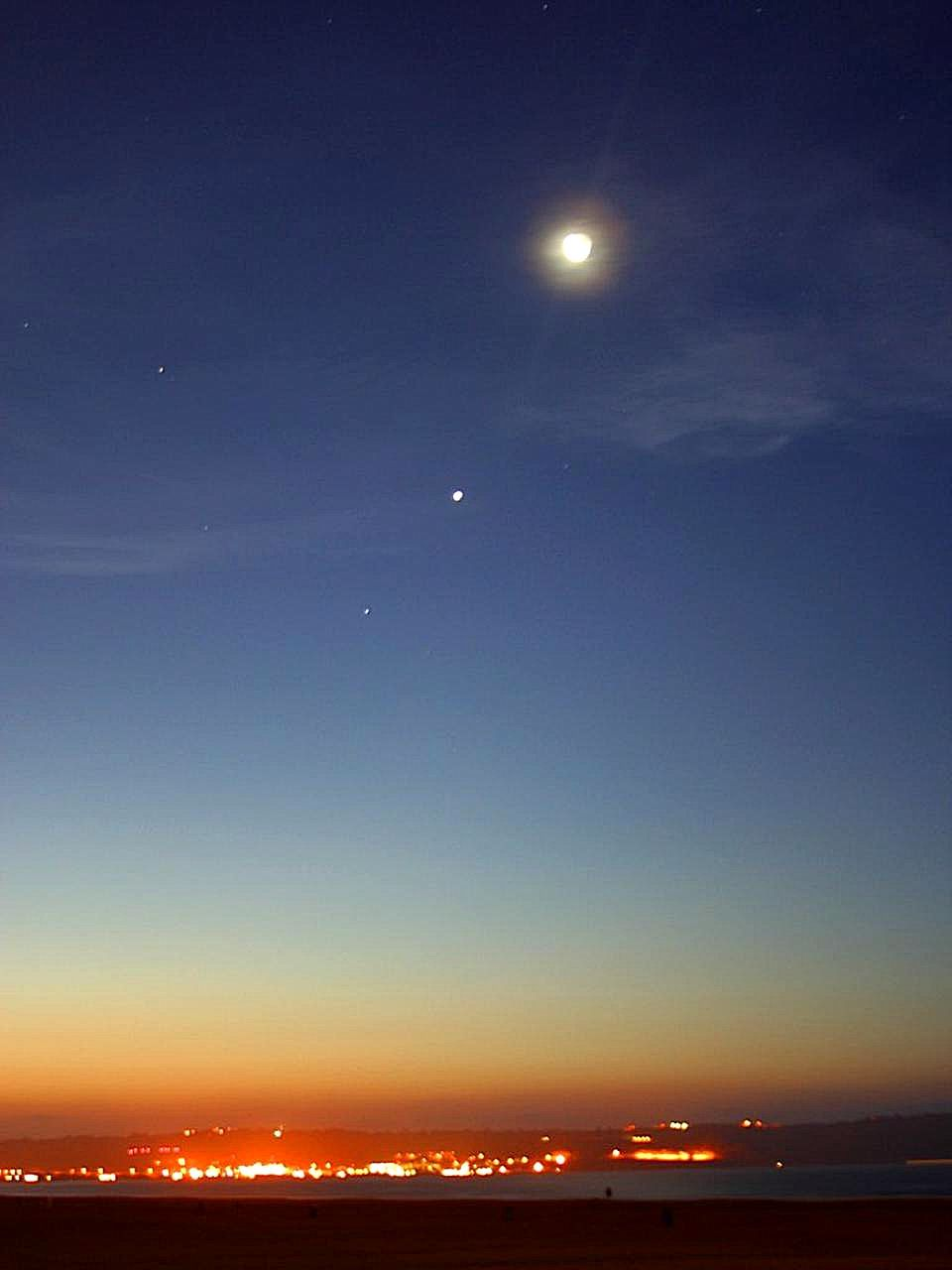 Free Picture Sunset Evening Moon Stars
