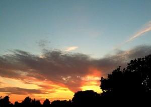 coucher du soleil, la gloire, paysage