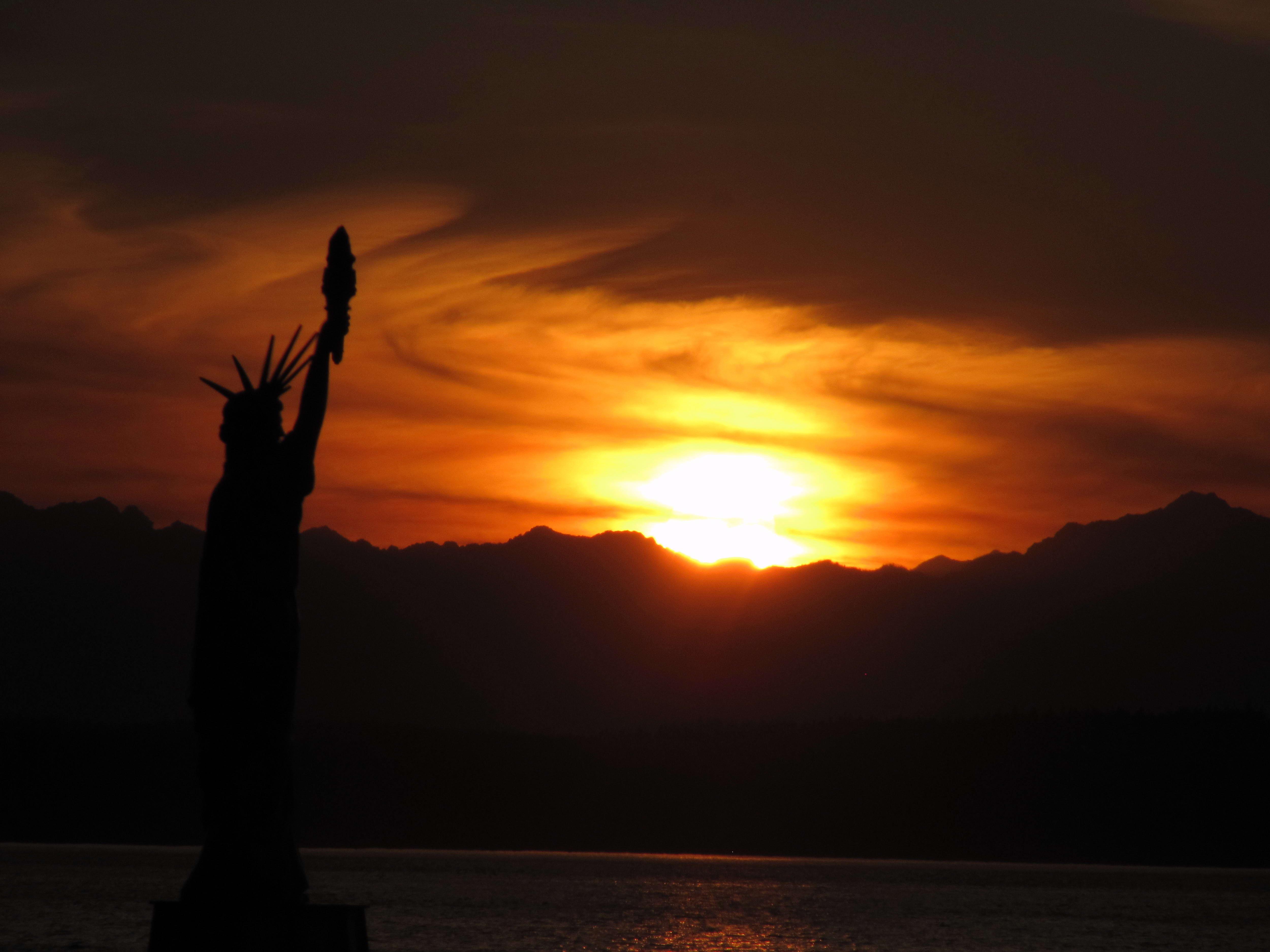 Free photograph; sunset, Seattle