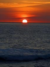 sunset, ocean, beautiful, scenic, red, burst, sky, beach