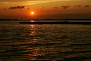 sunset, island, wilderness, refuge