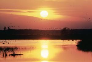 coucher du soleil, lac
