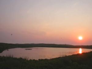 coucher du soleil, non, île