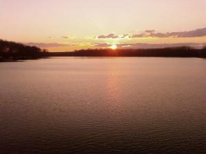 sunset, Tikvara, lake
