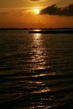 coucher du soleil, l'eau