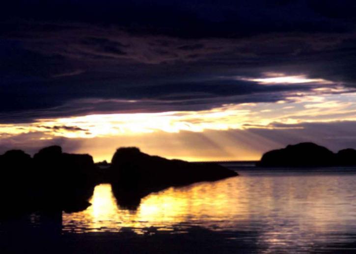 sunset, rays, sky