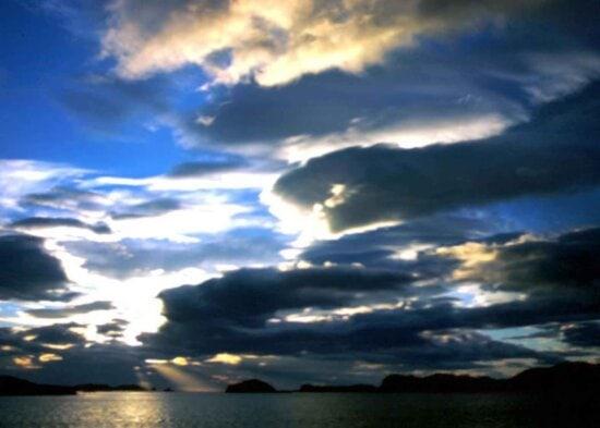 sunset, rays, thru, clouds, sky