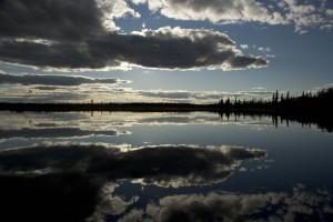 Sonnenuntergang, Reflexion, Kanuti, See