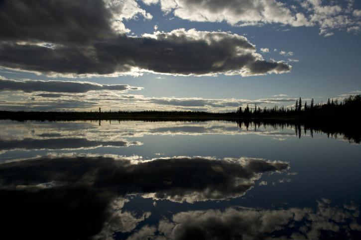 sunset, reflection, Kanuti, lake