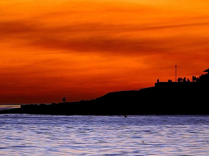 sunsets, Jolla, beaches, clouds, orange