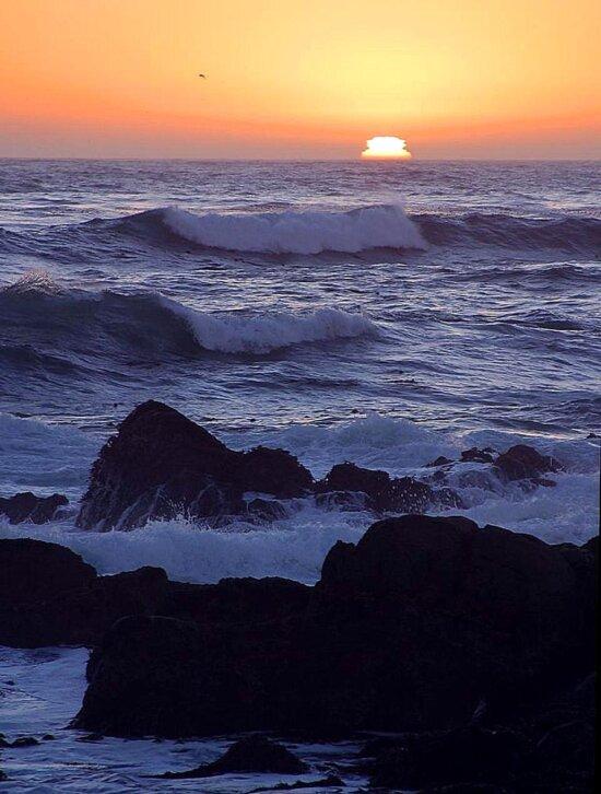 sunset, ocean, sea, coast, rocks