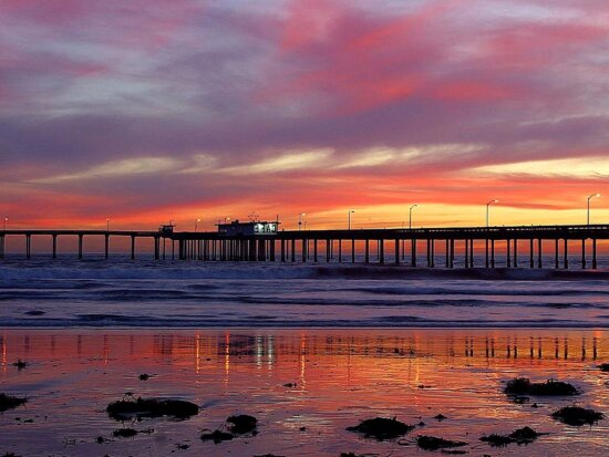 sunsets, piers