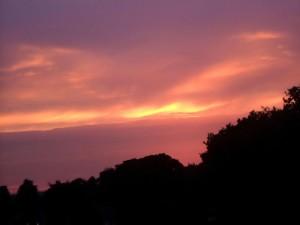 couchers de soleil, pourpre, paysage