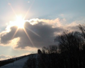 sunburst, snowy, hill