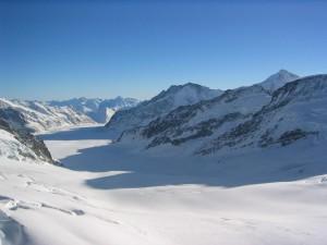 vallei, bedekt, sneeuw