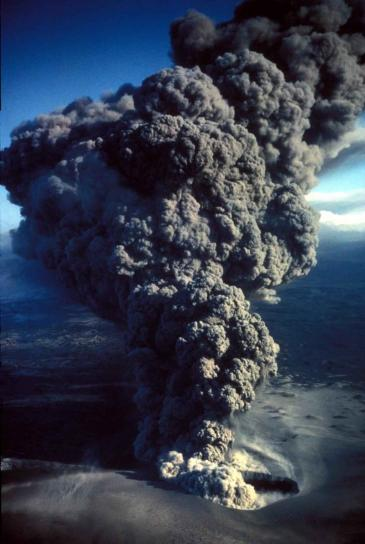 aerial, erupting, smoking, volcano