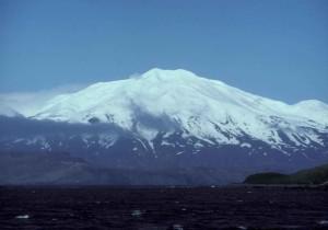 kiska, isla, volcán, pintorescos, montaña