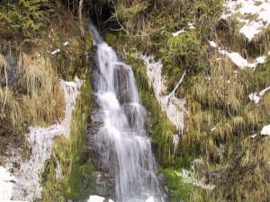 petite, chute d'eau, de neige, banque