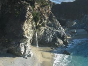 Wasserfall, Strand, fließen, Ozean