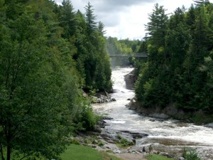 chute d'eau, arbres, rochers
