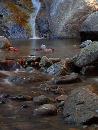 waterfalls, streams, rocks