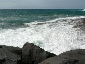 vague, rupture, grand, rochers