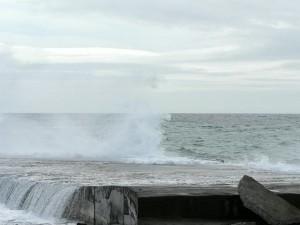 vague, rupture, rochers, plage