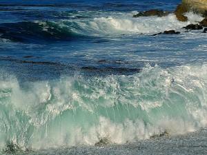 olas, playas, océano, espuma