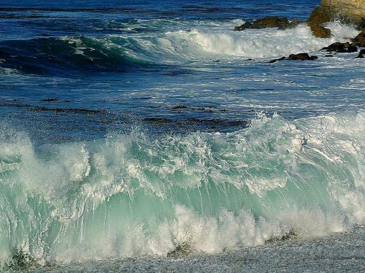 vagues, plages, océan, mousse