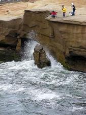 waves, cliffs