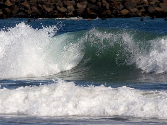 waves, surfers