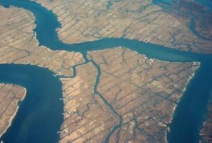 aérien, photo, habitat, restauration, l'eau, le drainage