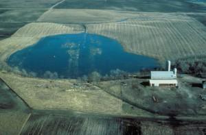 wetland area, lake, fields, house