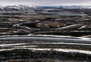 hiver, paysage, petits lacs, marais