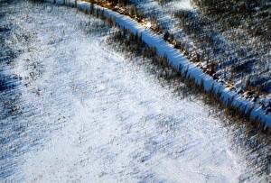 aérien, photo, surgelé, rivière, hiver