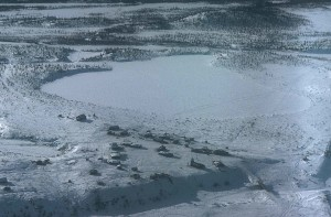 aerial, Arctic, village, adjacent, Arctic, wilderness, refuge