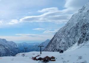 mountain, cabin, snow, winter, scenic