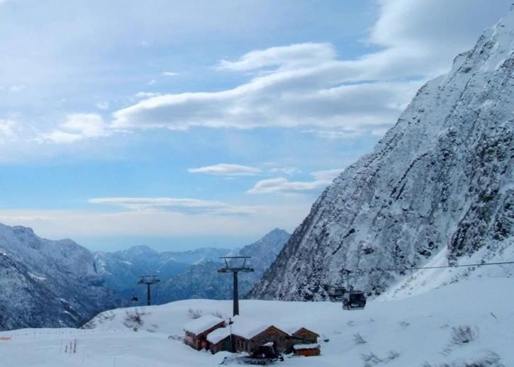 montagne, cabine, neige, hiver, scénique
