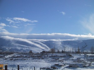 tåke, bølgende, ned ridge, kald, vinter, dag