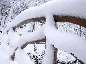 old, wooden, fence, covered, snow