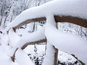 vieux, bois, barrière, couvert, neige