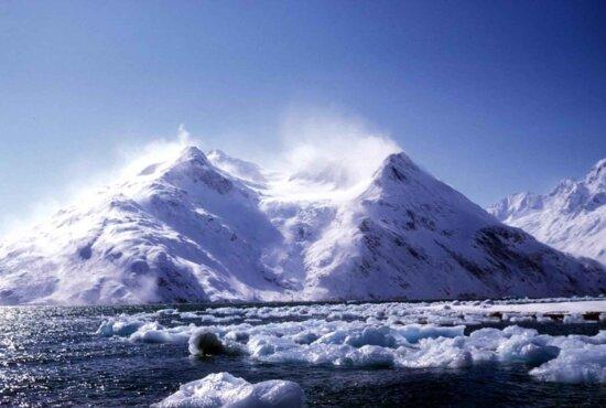 vahva, Länsi, tuuli, luminen, vuoren