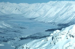 valle, invierno, nieve, invierno, paisaje