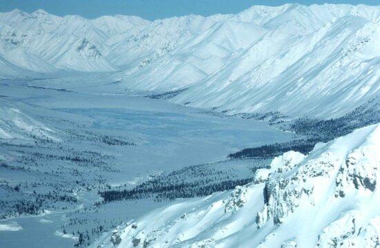 Valley, talvi, luminen, talvi, maisema