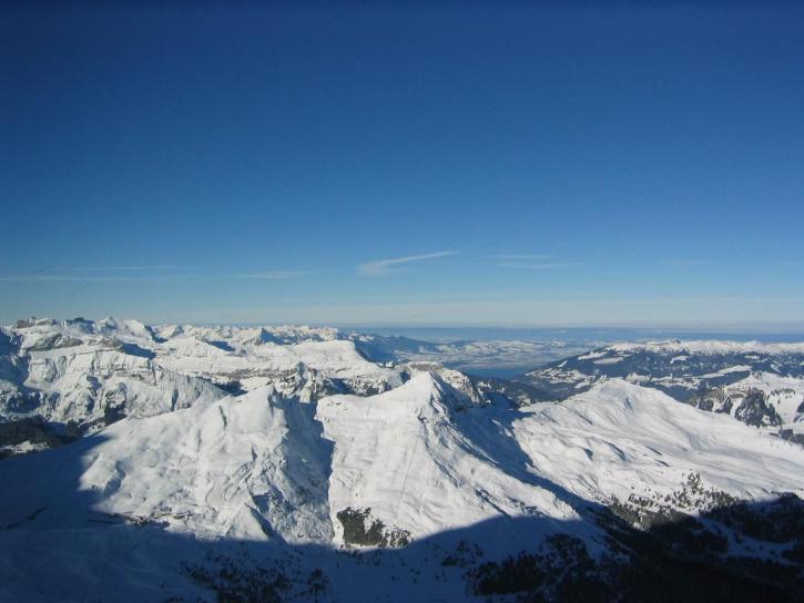 hiver, aube, montagnes